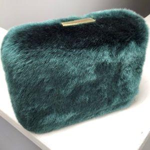Teal faux fur box clutch